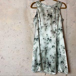 Y2K sage green silk floral sleeveless dress